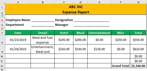 Expense Report Example 1-2