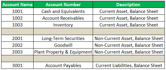 chart of account Example 1-1