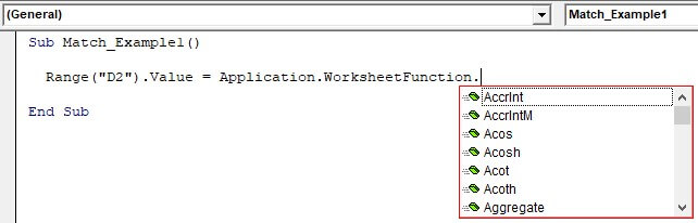 VBA Application match Example 1-3
