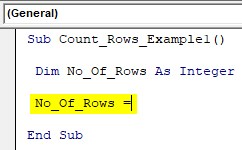 VBA Row Count Example 1-2