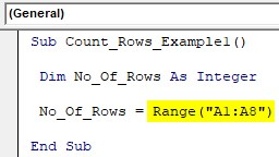 VBA Row Count Example 1-3