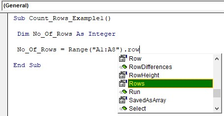 VBA Row Count Example 1-4