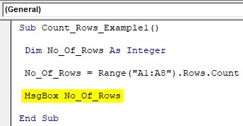 VBA Row Count Example 1-5