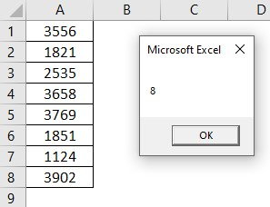 VBA Row Count Example 1-6