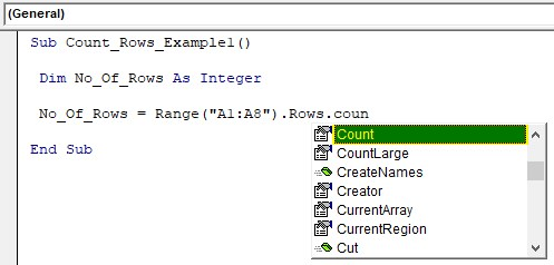 VBA Row Count Example 1-7