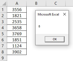 VBA Row Count Example 2-4