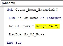 VBA Row Count Example 2