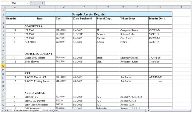 Fixed Assets Register Example